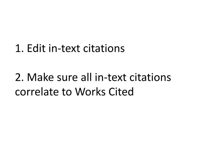 1. Edit in-text citations