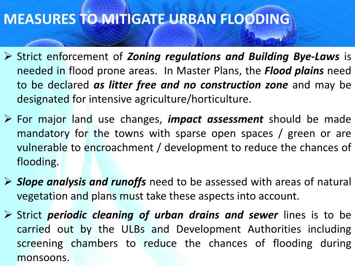 MEASURES TO MITIGATE URBAN FLOODING