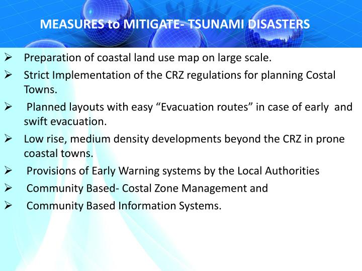 MEASURES to MITIGATE- TSUNAMI DISASTERS