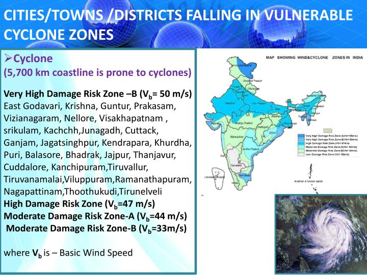 CITIES/TOWNS /DISTRICTS FALLING IN VULNERABLE CYCLONE ZONES
