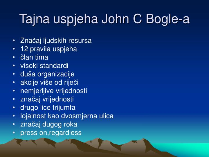 Tajna uspjeha John C Bogle-a