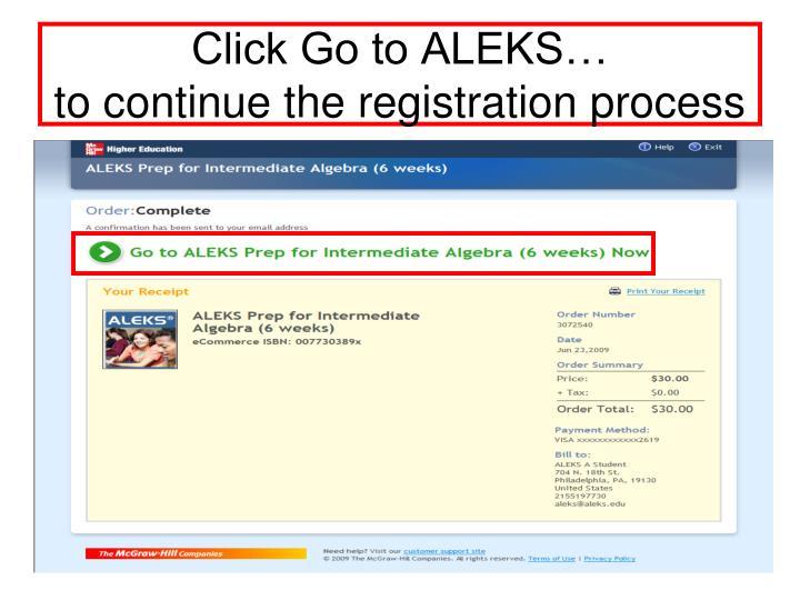 Click Go to ALEKS…