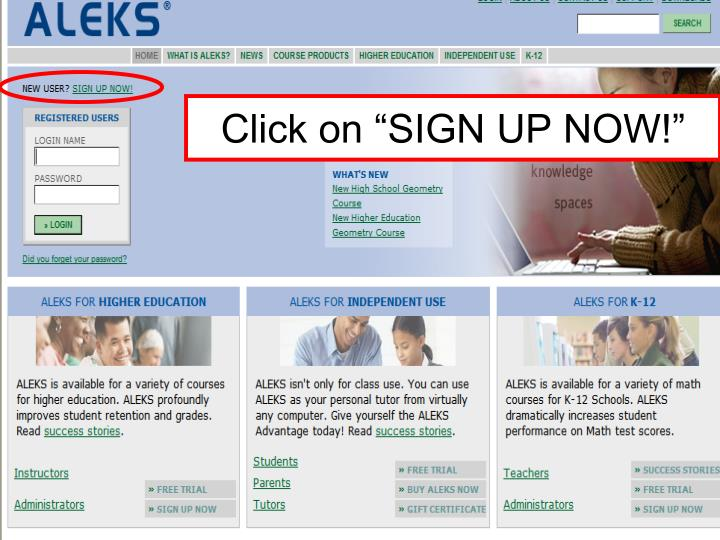 """Click on """"SIGN UP NOW!"""""""