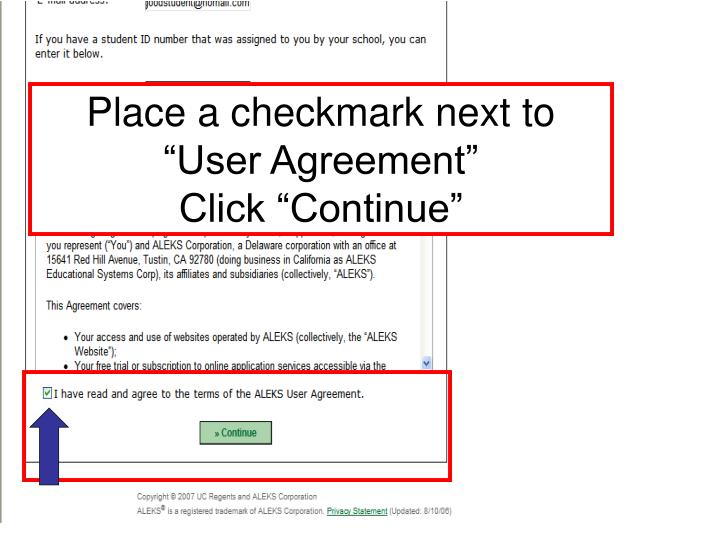 """Place a checkmark next to """"User Agreement"""""""