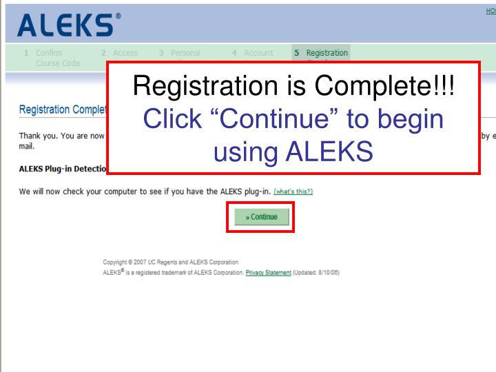 Registration is Complete!!!