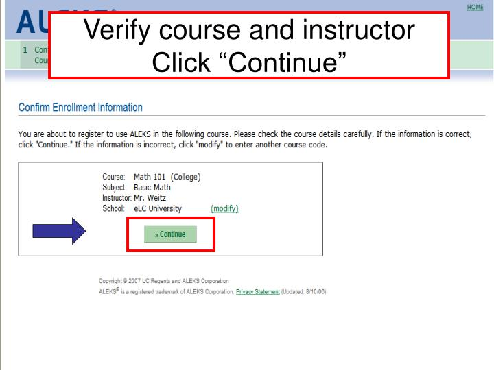 Verify course and instructor