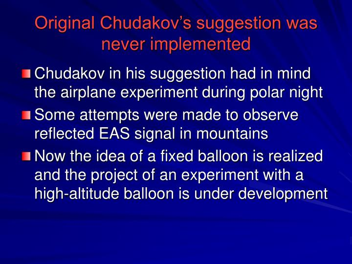 Original Chudakov's suggestion was never implemented