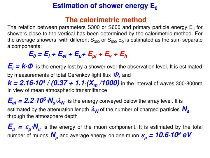 Estimation of shower energy E
