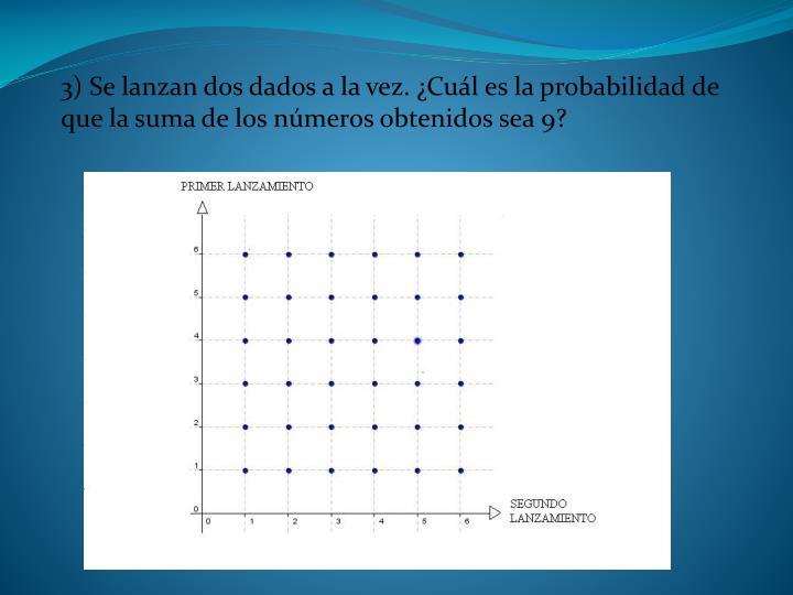 3) Se lanzan dos dados a la vez. ¿Cuál es la probabilidad de que la suma de los números obtenidos sea 9?