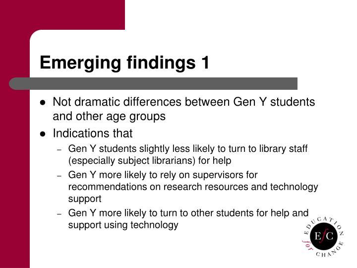 Emerging findings 1
