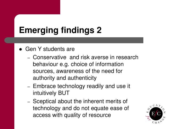 Emerging findings 2