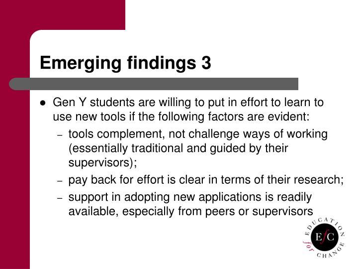 Emerging findings 3