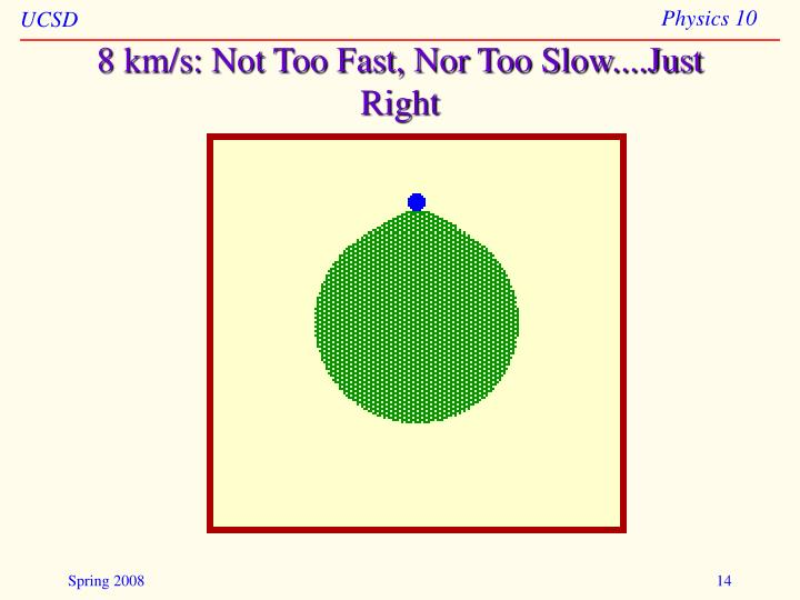 8 km/s: Not Too Fast, Nor Too Slow....Just Right