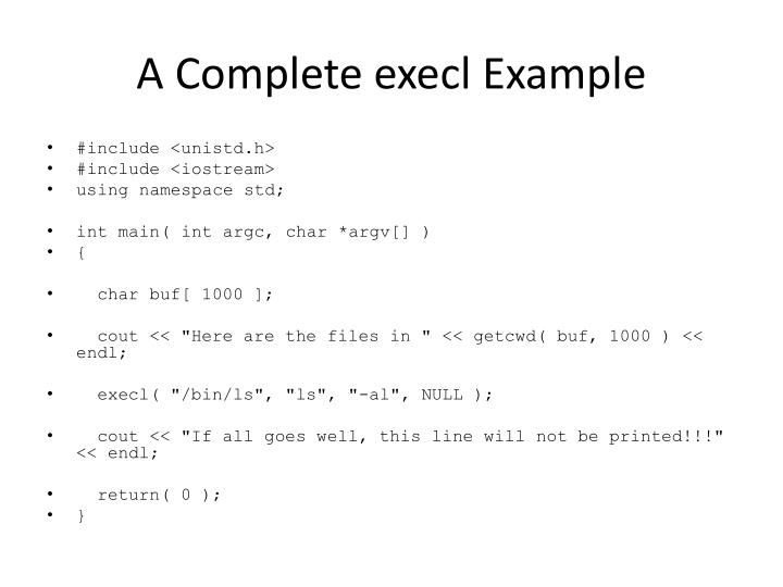 A Complete execl Example