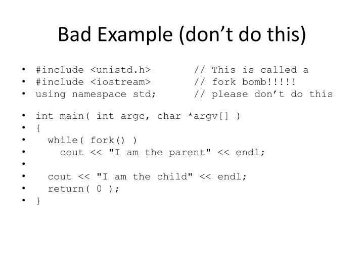 Bad Example (don't do this)