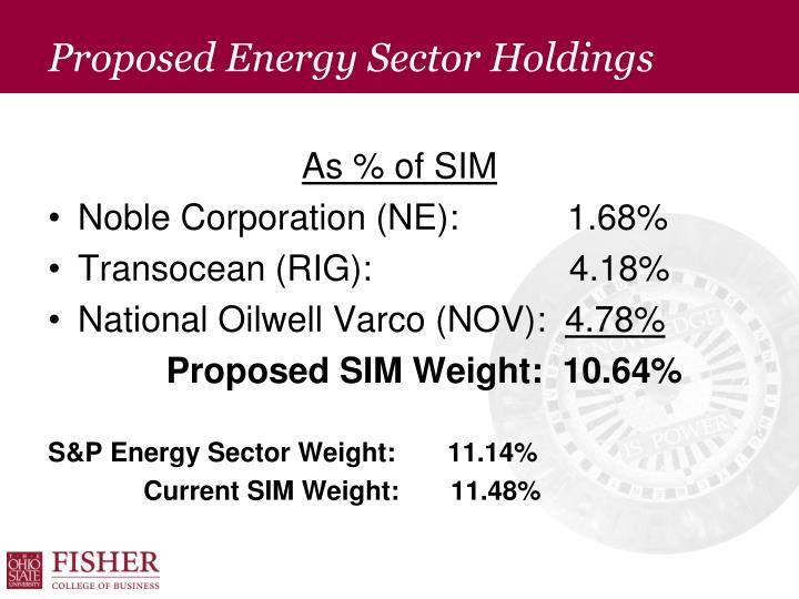 Proposed Energy Sector Holdings