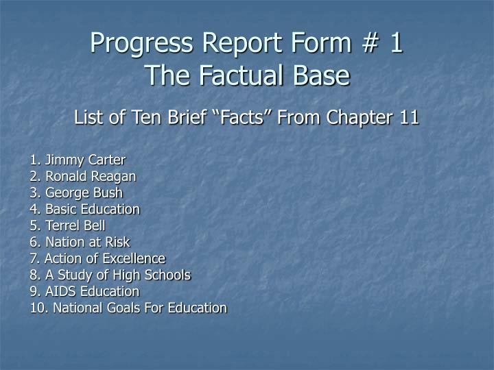Progress Report Form # 1