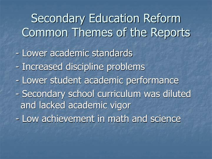 Secondary Education Reform