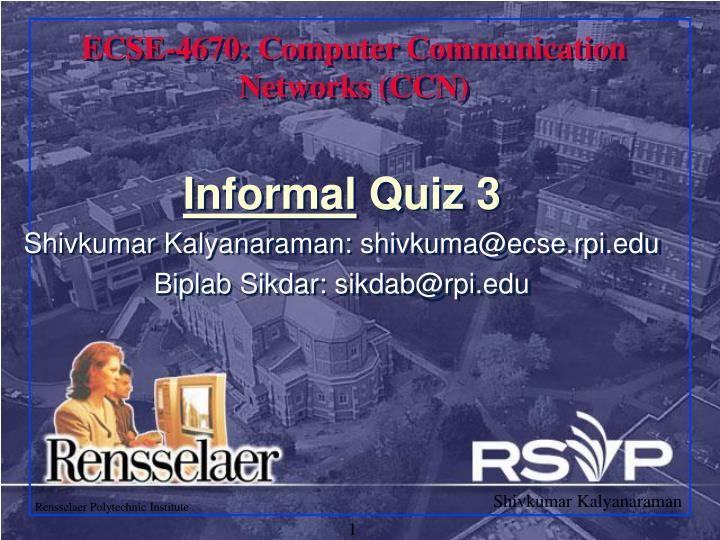 Ecse 4670 computer communication networks ccn