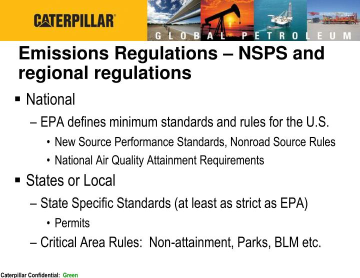 Emissions Regulations – NSPS and regional regulations