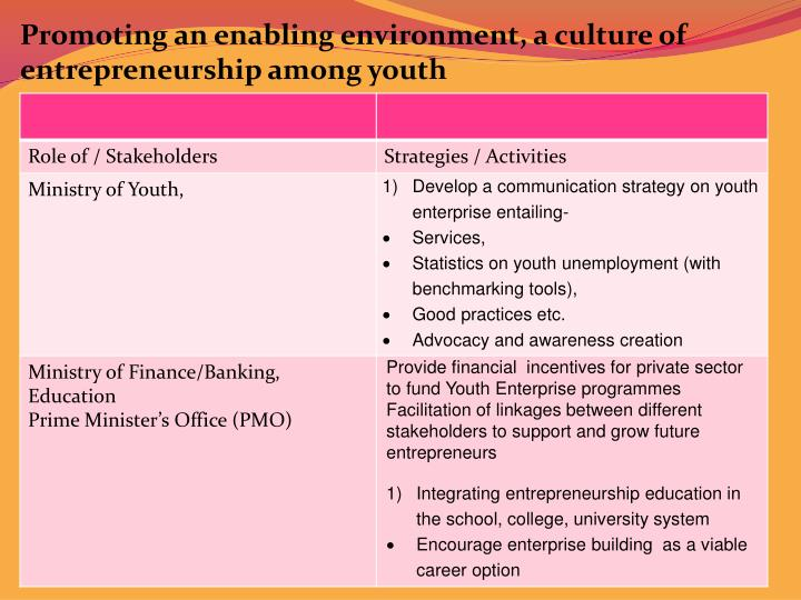Promoting an enabling environment, a culture of entrepreneurship among youth
