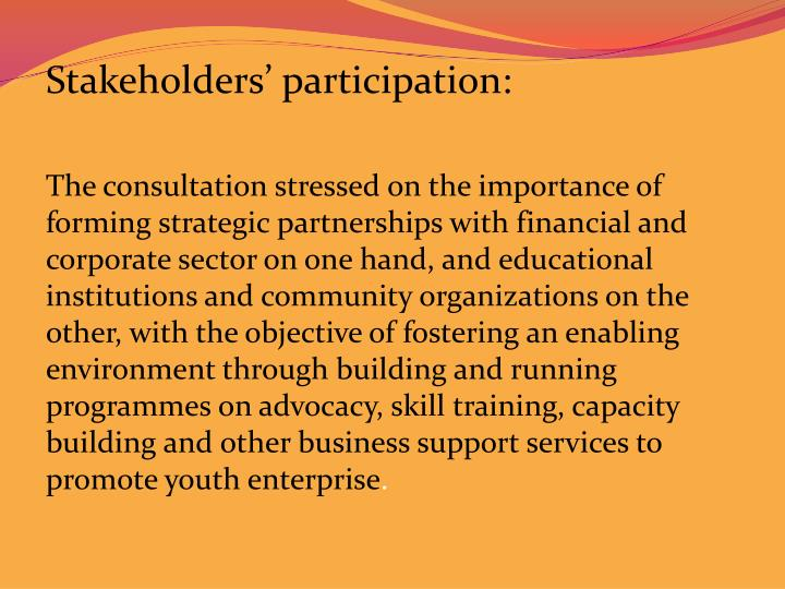 Stakeholders' participation: