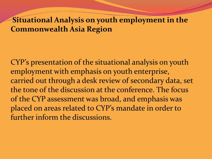 Situational Analysis on youth employment in the Commonwealth Asia Region