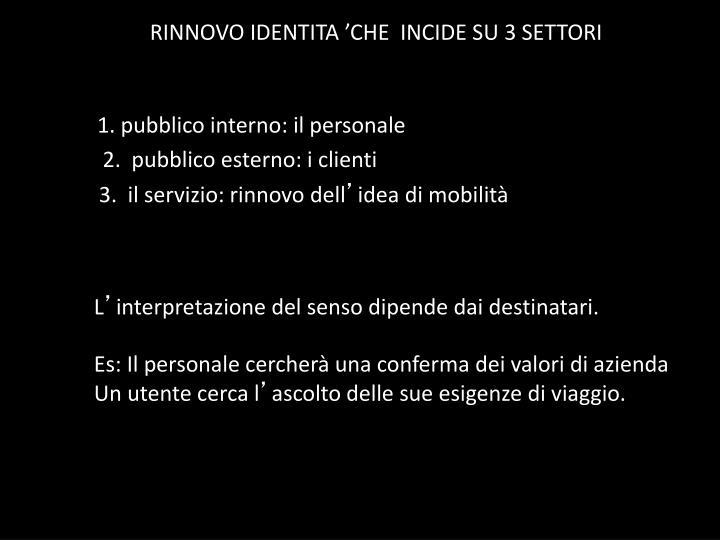RINNOVO IDENTITA 'CHE  INCIDE SU 3 SETTORI