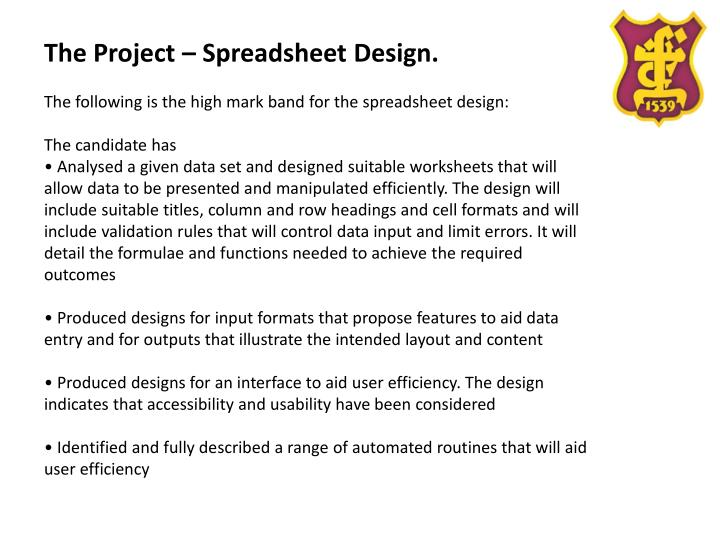 The Project – Spreadsheet Design.