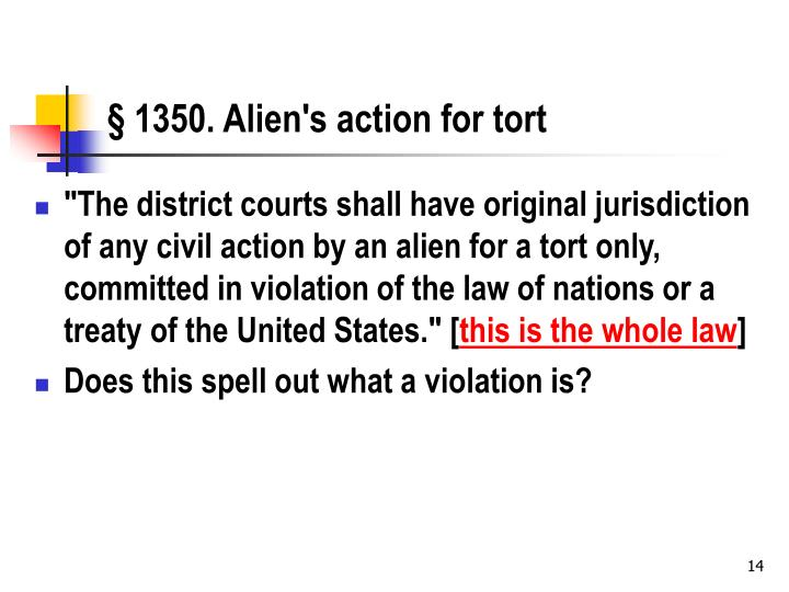 § 1350. Alien's action for tort