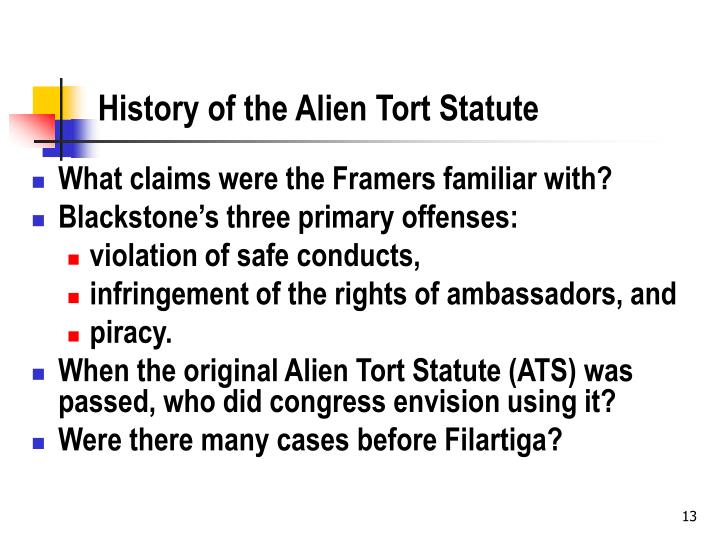History of the Alien Tort Statute