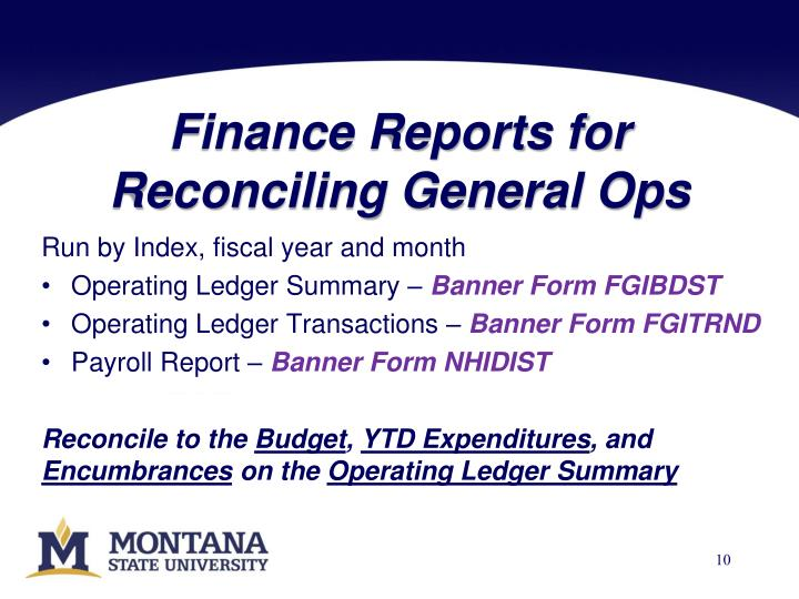 Finance Reports for Reconciling General Ops