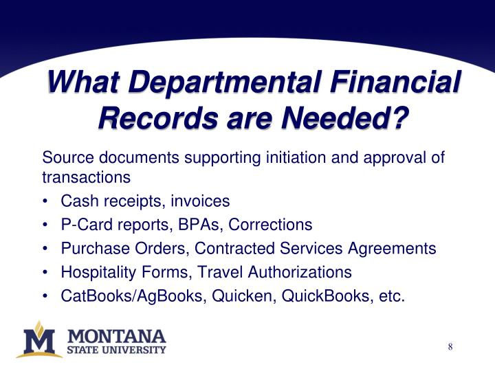 What Departmental Financial Records are Needed?