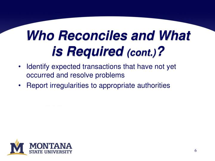 Who Reconciles and What is