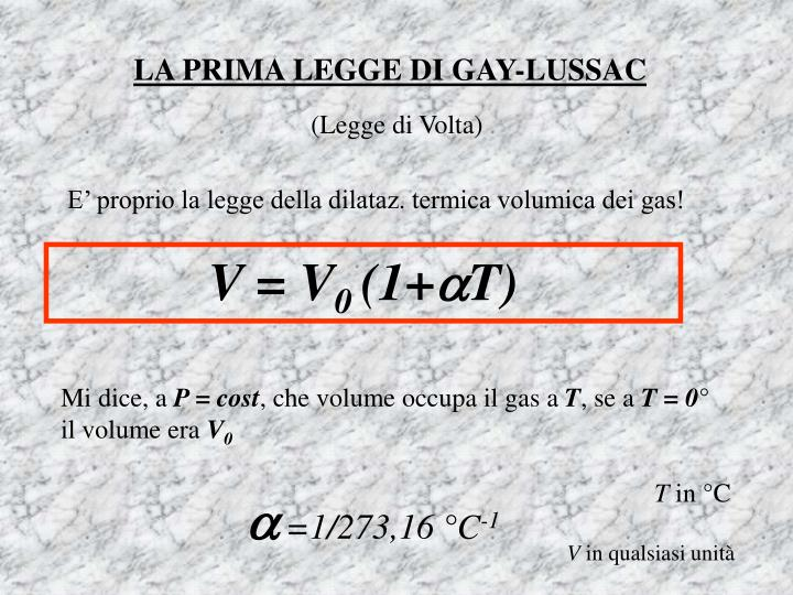 LA PRIMA LEGGE DI GAY-LUSSAC