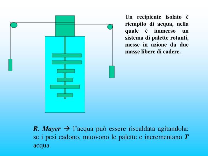 Un recipiente isolato è riempito di acqua, nella quale è immerso un sistema di palette rotanti, messe in azione da due masse libere di cadere.