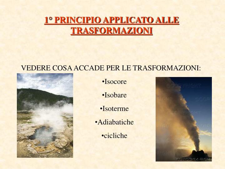 1° PRINCIPIO APPLICATO ALLE TRASFORMAZIONI