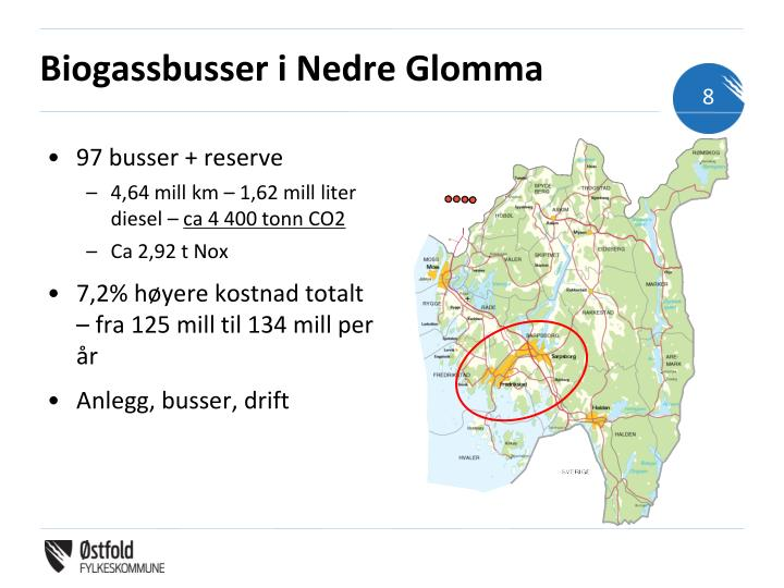 Biogassbusser i Nedre Glomma