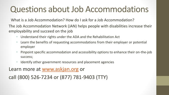 Questions about Job Accommodations