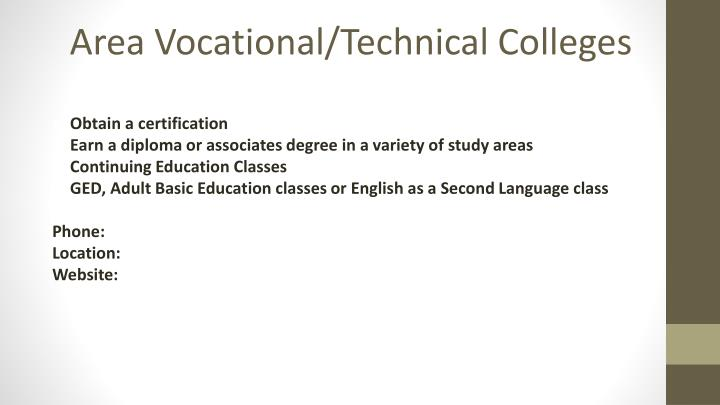 Area Vocational/Technical Colleges