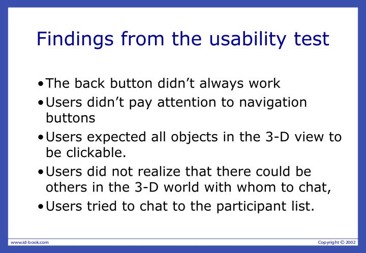 Findings from the usability test