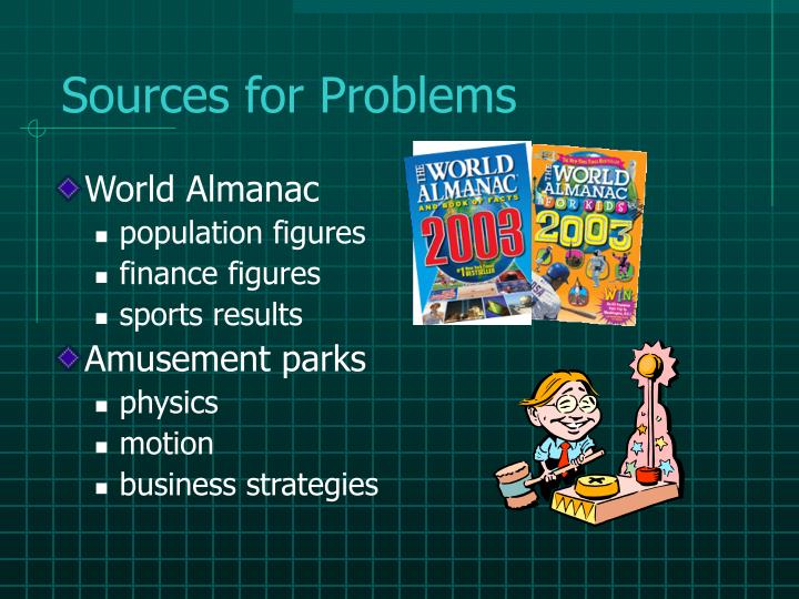 Sources for Problems