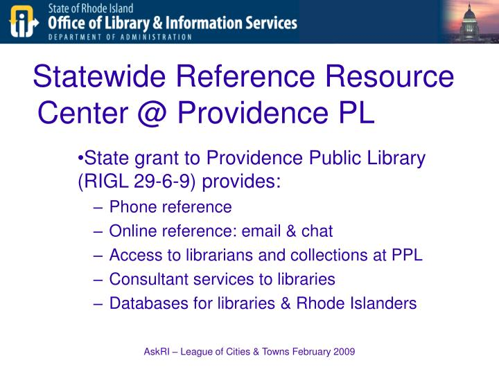 Statewide Reference Resource Center @ Providence PL