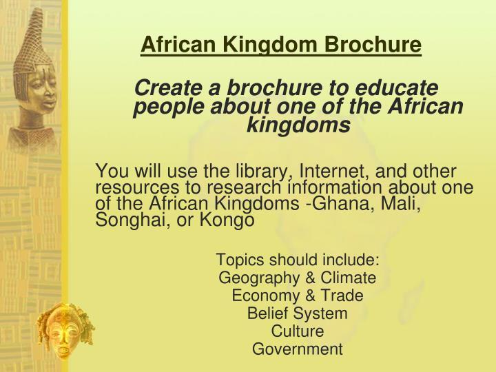 African Kingdom Brochure