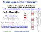 all page tables may not fit in memory