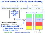can tlb translation overlap cache indexing