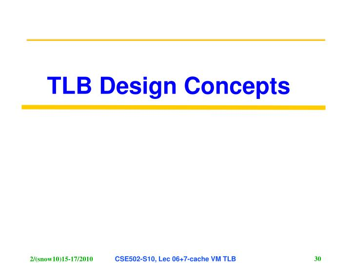 TLB Design Concepts