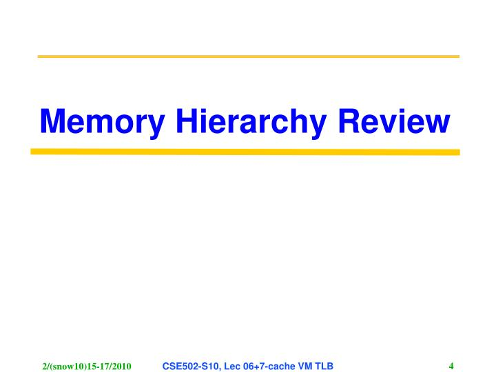 Memory Hierarchy Review