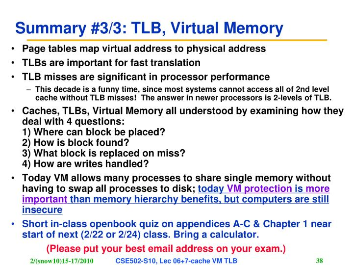 Summary #3/3: TLB, Virtual Memory
