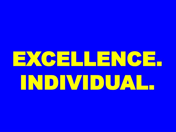 EXCELLENCE. INDIVIDUAL.